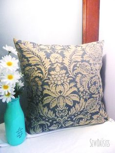Blue Cream Medallion Ornate Pillow Cover, 18 x 18, Accent Pillow, Invisible Zipper by SewDaisiesNC on Etsy