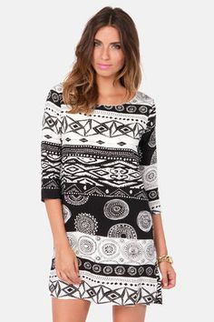 Shift Your Ground Black and White Print Dress #lulusrocktheroad