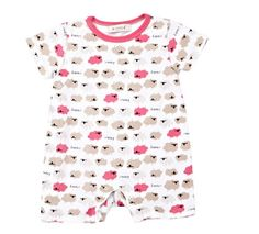 Newborn Baby Toddler Girl Sheep Short Sleeve Bodysuits Romper Jumpsuit 0-3M Pink #ibaby #Everyday