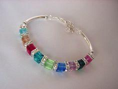 Birthstone Bracelet  Handmade Swarovski Crystal Cube Mother's Birthstone Bracelet with Silver Spacers - 7 to 12 Birthstones