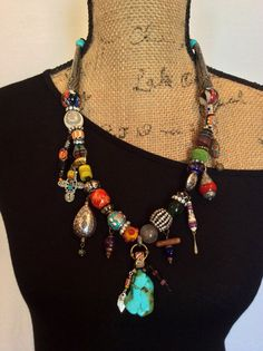 Beaded Necklace on Leather Cord Boho Necklace por perlinibella