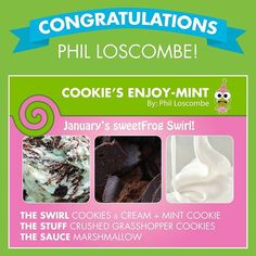 "@sweetfrog's photo: ""Congratulations to Phil Loscombe for winning our January Name the Flavor contest! Be on the look out for Cookie's Enjoy-Mint in stores this #January! #Froyo #Contest #sweetFrog #Congratulations"""