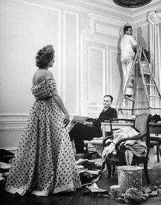 Pierre Balmain and Dress by Nina Leen