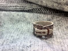 HEIKI. C--- Handmade Leather Ring (Floral Lace Print on Grey x Brown Stitch) FREE Ship Worldwide. $19.00, via Etsy.