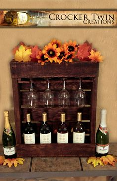 hanging wine rack by Crocker Twin Creations, Lewisville, TX Hanging Wine Rack, Rustic Wine Racks, Liquor Cabinet, Kitchens, Projects, Home Decor, Log Projects, House Bar, Kitchen