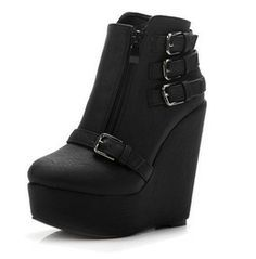 Buckle Up Ankle Boots Wedge Boots, Heeled Boots, Bootie Boots, Shoe Boots, Style Grunge, Soft Grunge, Buckle Ankle Boots, Black Ankle Boots, Combat Boots
