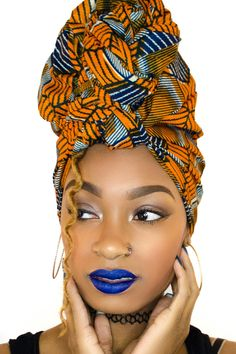 Multi color yellow & blue African Headwrap kente scarves