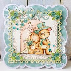 Mr and Mrs Teddy, an oldie but goodie. Card by DT Yenni #papercraft #cardmaking #whimsystamps