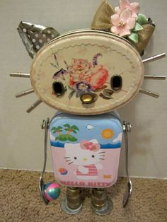 "Hello ""Miss Kitty"" Bot - found object robot sculpture assemblage Recycled Robot, Recycled Art, Repurposed, Kitsch, Metal Robot, Sculpture Metal, Miss Kitty, Found Object Art, Funky Art"