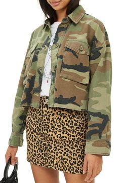 11ae942c6 Free shipping and returns on Topshop Benny Camouflage Crop Shirt Jacket at  Nordstrom.com.