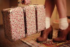 Liberty Print Suitcase, Beige socks and brown oxford heels