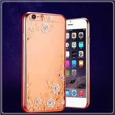 Luxury Clear Bling Diamond Crystal Flower Plating TPU Soft Case For Apple iPhone 6s 6 plus / 6S / 5s 5 rubber Phone Covers Cases