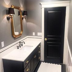 The pay off of not being afraid of using black is huge in this renovated bathroom. Bathroom Goals, Bathroom Inspo, Design Bathroom, Bathroom Inspiration, Kingston Brass, Vanity Units, Bathroom Faucets, Traditional Design, Vintage Designs