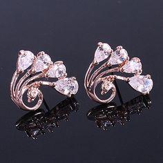 3.37$  Watch now - http://dizff.justgood.pw/go.php?t=184929901 - Pair of Rhinestone Peacock Stud Earrings