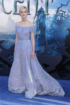 "Elle Fanning in Ellie Saab Haute Couture at the premiere of the film ""Maleficent"" in Hollywood."
