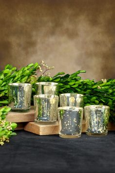 Votive Holder Cups Silver Mercury Glass (Set of 6)