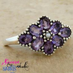 SZ 9 Sparkling Genuine Amethyst .925 SS Ring!. Starting at $10 on Tophatter.com!