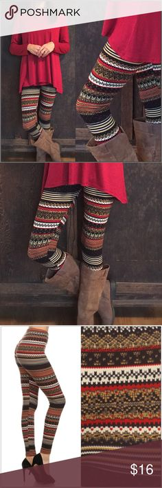 Fair Isle Print Leggings Multi-colored, Fair Isle print leggings. Super soft brushed knit with good stretch!  🌟92% Polyester 8% Spandex 🌟One size fits sizes 0-12  Burgundy tunic sold in separate listing. Pants Leggings