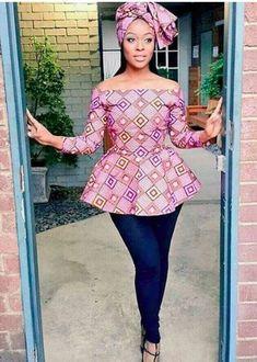 African Print Peplum Top with Sleeves - Ankara - African Dress - Handmade - African Clothing - African Fashion - Ankara Dress -Plus HeadWrap African Print Peplum Top, African Print Dresses, African Dresses For Women, African Attire, African Wear, African Women, African Prints, African Style, African Fashion Designers