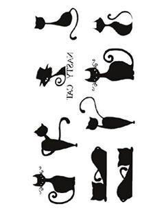 Moolecole 5 Sheets Ankle, Shoulder, Neck, Arm Temporary Tattoos Body Art Tattoo Stickers - Black Cats, http://www.amazon.com/dp/B014SQR70M/ref=cm_sw_r_pi_awdm_sgH9vb1B082V4