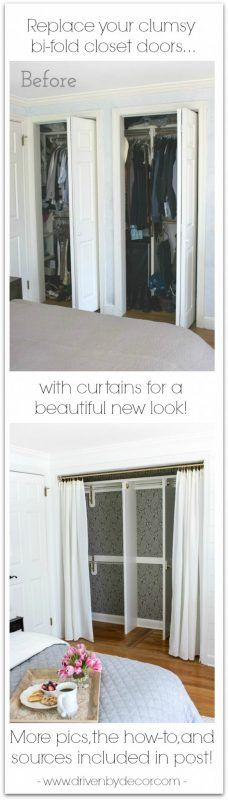 Ready to ditch your clumsy bi-fold closet doors? I replaced mine with curtains and am LOVING my closet's new look!