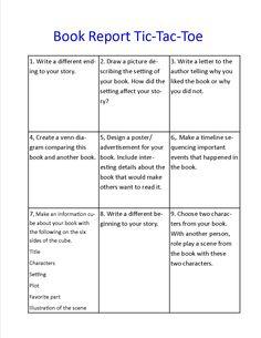 Tic tac toe book report 5th grade