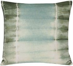 """sku: 1214190  this pillow collection is inspired by an ancient japanese dyeing technique, in which the fabric is folded and tied to create a resist-dye pattern. hand dyed in nepal on cotton linen. color: vetiver (moss, seaglass and ivory). 22"""" x 22"""". please note that the tie-dye pattern on each pillow is created by hand and thus slightly different, making each piece a true one-of-a-kind.  $158"""