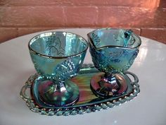 Indiana Glass Blue Carnival Harvest Grape Footed Creamer & Sugar Bowl & Tray  #IndianaGlass