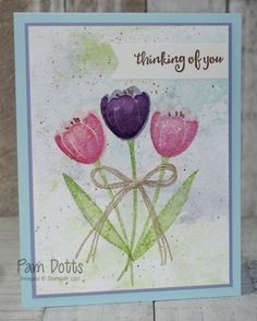 Tranquil Tulips ss, Beautiful Day ss (sentiment) Watercolor Paper,  #FF0004, Pam Dotts