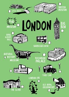 World map print illustrated world map wall art to pin your fave london city checklist print original illustration travel checklist for london illustrated monuments and hotspots gumiabroncs Image collections