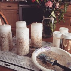 DIY holiday candles. Just add glitter.
