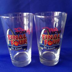 2 NCAA Final Four Basketball 2005 Logo Glasses Coca Cola St Louis Arch Beer #CocaCola #MichiganLouisvilleNorthCarolinaIllinois