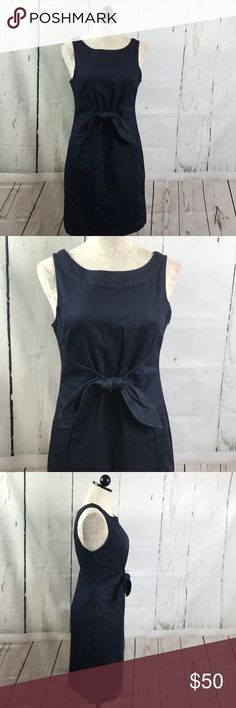 """Anthropologie Holding Horses Ribboned Denim Dress Pretty sleeveless denim sheath dress with front tie - wonderful transition piece from season to season - zips up back with slight stretch to fabric  85% cotton, 14% polyester, 1% spandex Great condition! 37"""" length, 19"""" bust across front Anthropologie Dresses"""