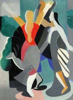 Aleksandra Ekster (Russian 1882–1949) [Futurism, Cubism, Constructivism, Suprematist] Two dancers.