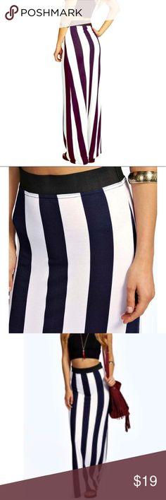 Navy white vertical striped maxi skirt Navy white vertical striped  maxi skirt size 4 Skirts Maxi