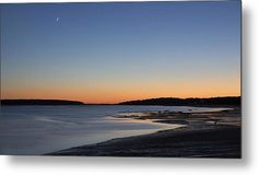 Moon And Sunset  Metal Print By Ronald Zeytoonian