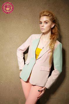 Women's Polo Collar Mix Colors Suits Blazer