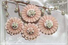 Paper Rosette Flowers Pale Pink