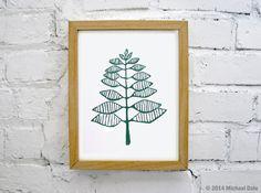 Green Fern Print Linocut Block  Print  by CoffeeInBed on Etsy