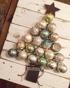 Vintage christmas ball, reclaimed wood, etc, christmas tree sign...Patina White FB