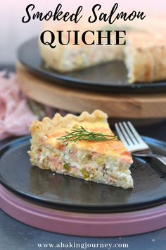 Super easy quiche recipe with Smoked Salmon, Leeks and Cottage Cheese. This Smoked Salmon Quiche is Smoked Salmon Quiche, Smoked Salmon Recipes, Fish Recipes, Seafood Recipes, Cooking Recipes, Cooking Food, Quiche Recipes, Brunch Recipes, Recipes