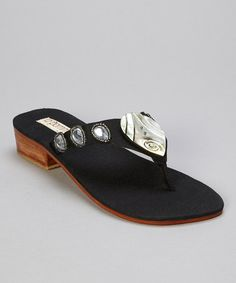 Take a look at this Black Abalone Teardrop Thong Sandal by la pomme on #zulily today!