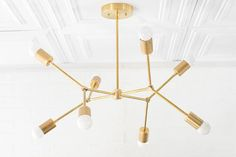 Geometric Lamp – Modern Brass Chandelier – Ceiling Fixture – Gold Chandeliers - All For Decoration Modern Brass Chandelier, Chandelier Ceiling Lights, Ceiling Fixtures, Ceiling Lamp, Mobile Chandelier, Kitchen Chandelier, Foyer Lighting, Ceiling Hanging, Room Lights