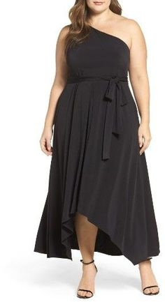 b6ca0329c8afc Plus Size One-Shoulder Jersey Midi Dress Plus Size Womens Clothing