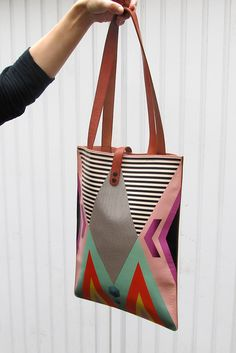 Leather Tote - Tribal Geometric