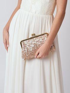 Rose Gold Sequin Clutch   Blush Bridesmaid Clutch Purse   Pink Clutch   Monogram Clutch [Ella Clutch]