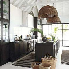 Love the lights, black & white, sliding iron doors, all!