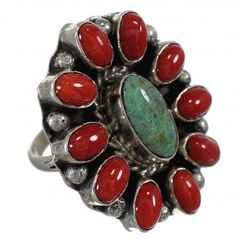Navajo Indian Coral Turquoise And Silver Ring Size 6-3/4 YX74190-0