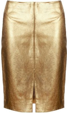 Gold Leather Pencil Skirt by L'agence Metal Fashion, Punk Fashion, Leather Fashion, Womens Fashion, Gold Pencil Skirt, Real Leather Skirt, Gold Leather, Clothes For Sale, Timeless Fashion
