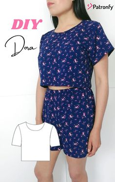 Crop Top Pattern, Pdf Sewing Patterns, Pattern Paper, Paper Size, Diy Tutorial, Woven Fabric, Youtube, Short Sleeve Dresses, Crop Tops